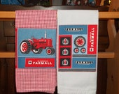 Old Red Tractor Tea Towel Set