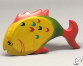 Toy Fish wooden colourful yellow red green handmade Size: 14,0 x 8,0 x 2,5 cm (bxhxs)  approx. 40 gr.