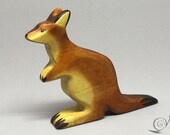 Toy Kangaroo wooden brown colourful standing Size: 13,0 x 10,0 x 2,2 cm (bxhxs)  approx. 50 gr.