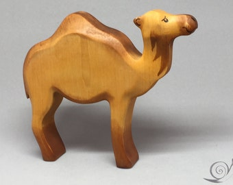 Toy one humped camel dromedary wooden brown colourful standing Size: 12,0x 13,5 x 2,5 cm (bxhxs)  approx. 85 gr.