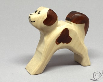 Toy dog wooden colourful white with brown dots running Size: 6,5x6,0x2,0 cm (bxhxs) approx. 25,5 gr.