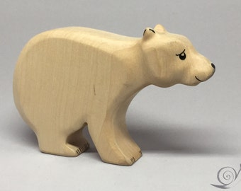 Toy Ice Bear Polar Bear wooden white black colourful mother Size: 14,5 x 8,0 x 2,5 cm (bxhxs)  approx. 98,5 gr.