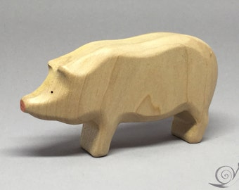 Toy Pig - Hog wooden white  - big  Size: 11,0 x 6,0 x 2,7 cm (bxhxs)  approx. 49,5 gr.