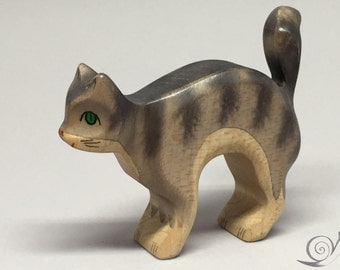Toy Cat wooden  grey with grey stripes colourful  with cat's arched back Size: 10,5x5,0x2,2 cm (bxhxs) aprox. 30 gr.