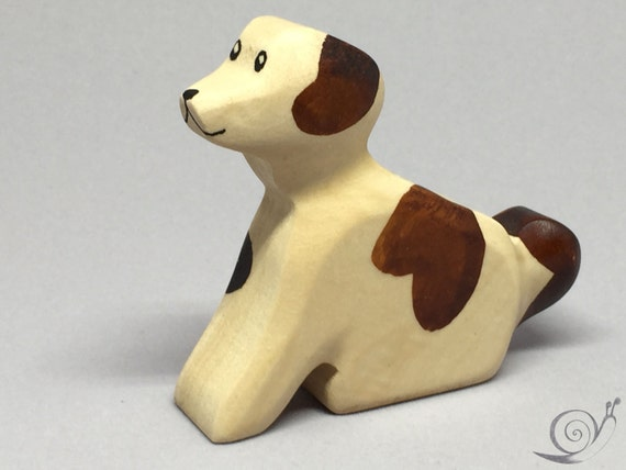 Toy dog wooden white brown with dots colourful Size: 7,5x6,5x2,0 cm (bxhxs) approx. 24,5 gr