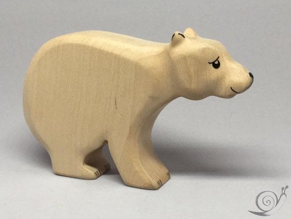 Toy Ice Bear Polar Bear wooden white black colourful mother Size: 14,5 x 8,0 x 2,5 cm (bxhxs)  approx. 98,5 gr.