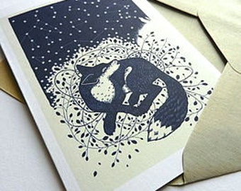 "greetings card - ""fox call"""