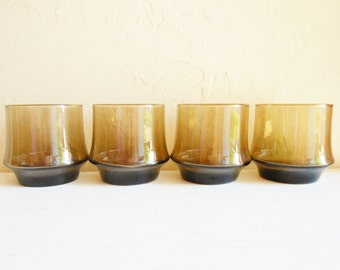 Set of 4 Short Smoke Glass Mid-Century Drinking Glasses Tumblers Drink Cups