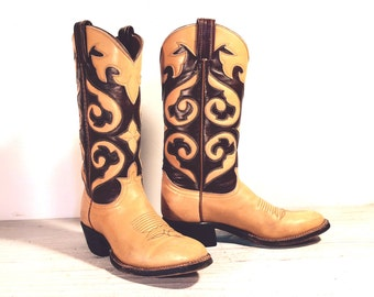 Vintage Cowboy Boots, Tony Lama Black Label Yellow Tan & Brown All Leather, Fancy Scrollwork Cut-outs, Inlays, Women's or Girl's size 4.5 A