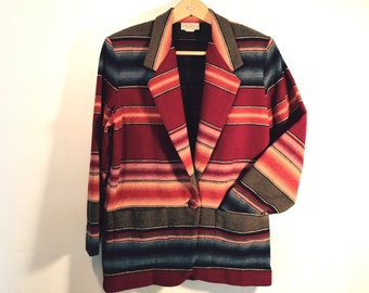 Native American Indian Blanket Design Jacket by Arizona Jean Company, Women's size Small
