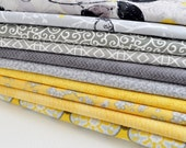 Fat Quarter Bundle of 10 Fabrics, Yellow, Gray, Light Gray, Yellow, Birds, Nature, Leaves, Floral Fabric (GWYB-10-N03)
