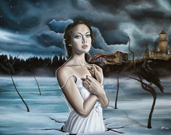 Limited Edition Surreal Girl in Frozen Lake with Ravens & Castle Dream-like Fantasy A3 Art Print