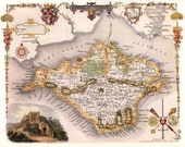 Isle of Wight 1840. Antique map of the Isle of Wight, England  by Thomas Moule - MAP PRINT