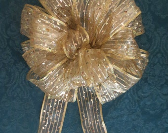Christmas Bow / Gold Bow / Tree Topper Bow