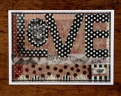 Love Art Print Mixed Media 5x7 Butterfly Black White Red Anniversary Wedding Polka Dot Home Decor