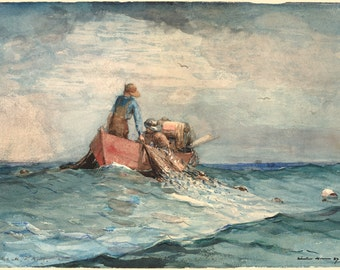 Winslow Homer Watercolor Reproductions. Hauling in the nets, 1887. Fine Art Print.