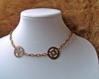 Double Gear and Chain Choker Necklace