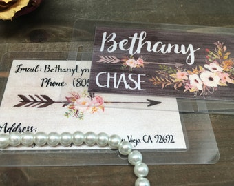 Bag Tags - Set of 2 - Personalized - Shimmer - Luggage Tags - Laminated - Woodgrain - Watercolor - Floral