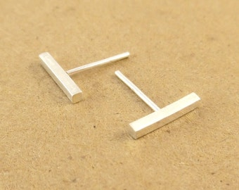 Argentium Silver Square Stud Earrings, Silver Ear Bar Studs, Silver Post Earrings, Recycled Silver, Stud Earrings, T Bar Earrings