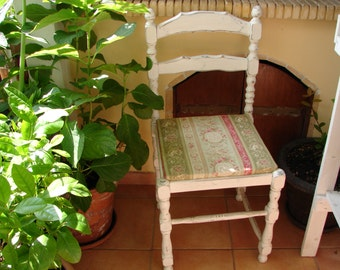 Vintage,shabby chic chair, old,white painted, turned wooden chair, Victorian French cherubs cameo fabric covered  seat.