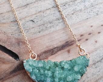 Emerald Druzy Necklace Half Moon Necklace