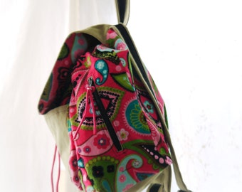 Small Backpack, Paisley Backpack, Designer Back Pack, Back Pack Purse, Leather and Corduroy Back Pack Upcycled Leather Bag Again