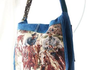 Western Purse, Cowboy Purse, Cowboy Messenger, Western Bag, Cowboys and Denim Shoulder Bag,Upcyled Recycled Repurposed Purse BagAgain