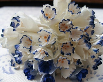 Vintage French Flowers in cotton Blue and White Free Shipping