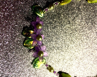 Lime Green Glass Rocaille Necklace with Purple Plastic Flowers - Tropical Summer by JulieDeeleyJewellery on Etsy