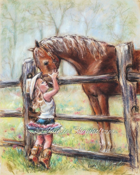 "Children's Art, girl and horse Cowgirl horse painting ""COWGIRL WHISPERS"" western decor paper  Canvas or art Print, Laurie Shanholtzer artist"
