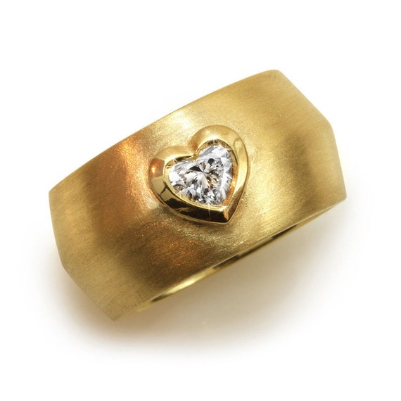 Items Similar To Diamond Heart Ring Wide Band Ring Solitaire Ring Unique Wedding Ring 14K