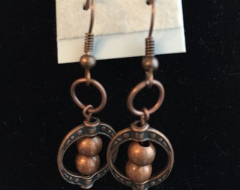 Dangle Copper Earrings with rubber backs
