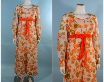 Vintage 60s Boho Hippie Orange Floral Maxi Dress, Festival Renaissance Fair Gypsy Bohemian, Empire Waist Dolly Kawaii  SZ S