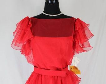 Vintage Dress Chiffon Jill Richards Ruffles Red NOS