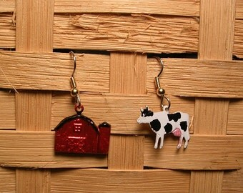 Hand Painted  Whimsical Cow and Barn  Earrings.