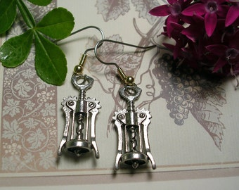 Corkscrew Wine Bottle Opener  Earrings .