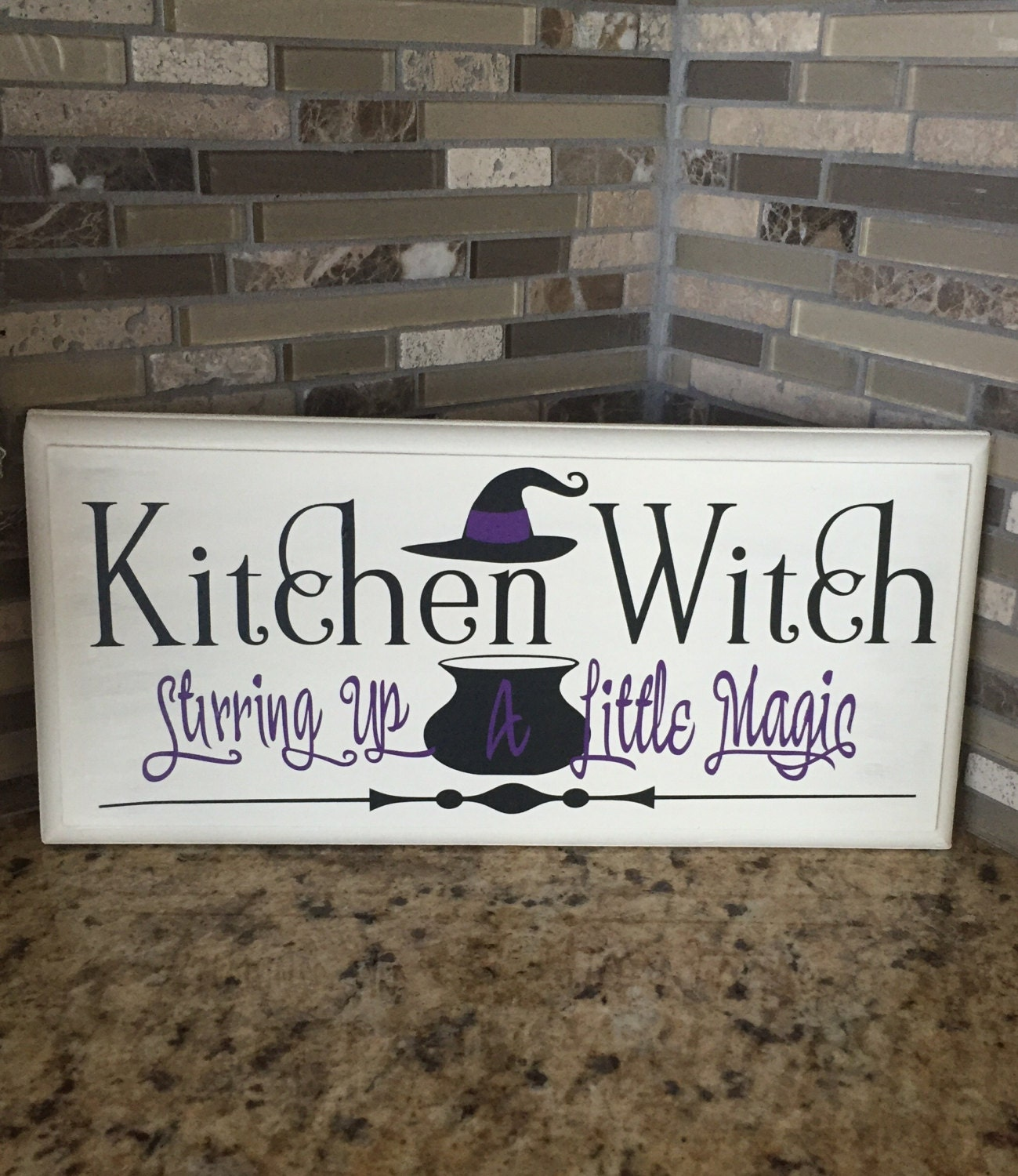 Home Is Wherever I M With You Wood Sign Home Decor: Wood Sign Kitchen Witch Stirring Up A Little Magic