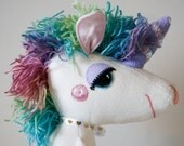 Unicorn Stuffed Animal Named Nightshade Silver-Ears. Rainbow Yarn Hair, White and Purple Fabrics, Sequin Horn. Makes a Great Girly Gift.