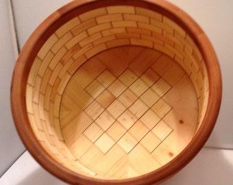 Pine and Cherry veneer blocks segmented bowl by ShopDrennan