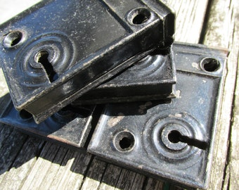 Set of 6 Small Black Vintage Lock Plates RHC