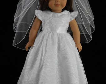 Handmade American Girl 18 Inch Floral First Communion, Flower Girl, or Wedding Gown