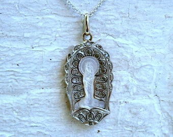 Vintage Platinum/ Gold Diamond and Mother of Pearl Madonna and Child Necklace.