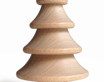 5 - 2.75 Inch Natural Wood Christmas Tree to Embellish for Holiday Crafts