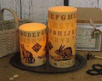 SET of 2 Antique Rabbit Cat Cross Stitch Sampler Image Candles Flameless LED Wax Pillar - Night Light w/Timer