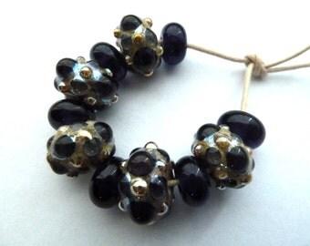 handmade lampwork purple and silver glass beads, UK set