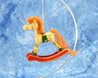 Vintage Wooden Rocking Horse Keepsake Ornament, Russ Berrie, Allegro Christmas Ornament 1990's, Christmas, Wooden Horse, Wooden Ornament