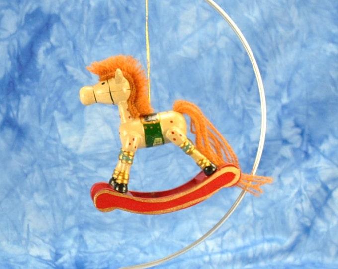 Vintage Wooden Rocking Horse, Christmas Keepsake Ornament by Russ Berrie 1990's