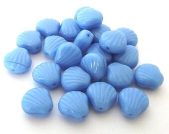 Czech Glass Beads, Sky Blue Coral Shells, 9mm - 25 beads