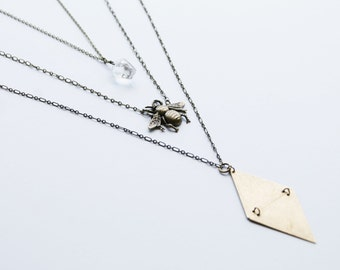 bee layer necklace, triangle layer necklace,  quartz layer necklace, crystal layer necklace, geometric necklace