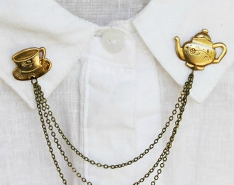 brass teapot  collar pins, collar chain, collar brooch, lapel pin, teapot pin, tea cup brooch, teapot brooch, tea cup pin